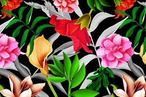 Tropical pattern. Jungle flowers