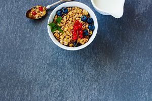 Bowl of breakfast muesli