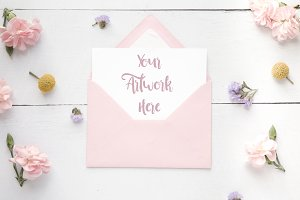 White Card A6 and envelope mockup