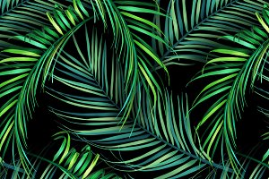 Jungle palm leaves. Tropical pattern