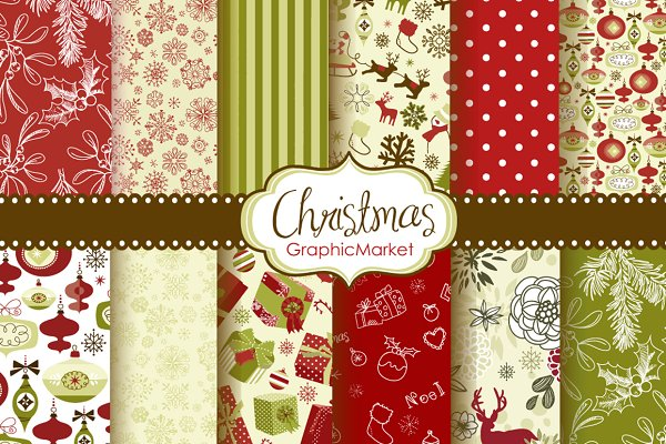 Christmas Scrapbook Retro Paper pac…