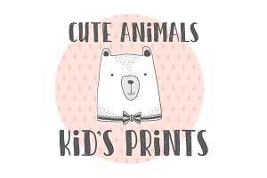 Kid's prints.Stylized cute animals
