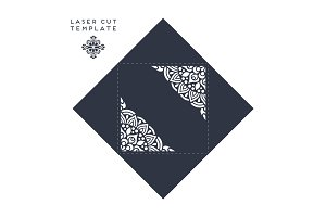 Vector wedding card laser cut template. Vintage decorative elements
