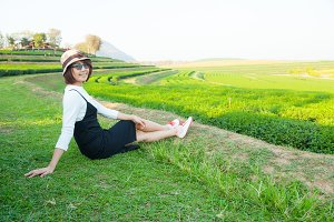 Asian woman relax in holiday.