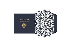Vector wedding card laser cut template. Vintage decorative elements