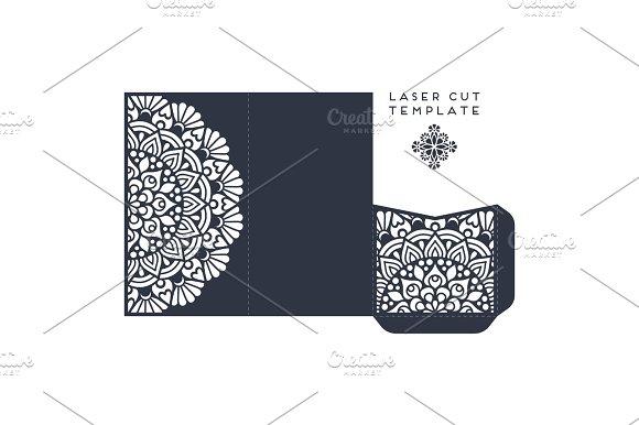 Vector Wedding Card Laser Cut Template Vintage Decorative Elements