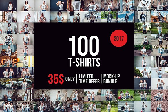100 T-Shirt Mock-Up Bundle -Graphicriver中文最全的素材分享平台