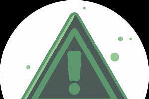 Attention sign icon with long shadow. Simple circle icon.