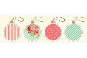 Set of cute vintage Christmas ball price tags in shabby chic style