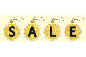Set of cute vintage glitter price tags shaped as Christmas balls