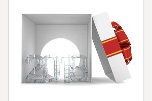 Gift box present with ribbon bow