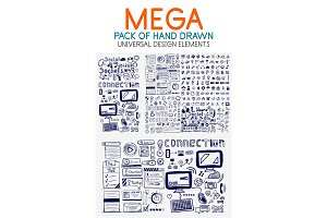 Vector mega collection of hand drawn technology elements
