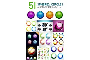 Mega collection of circles, spheres, round swirls design elements