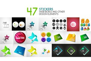 Set of vector stickers, labels, web design interface elements and login forms