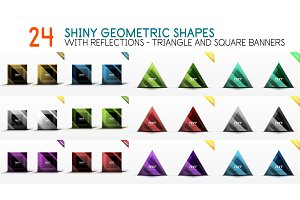 Collection of square and triangle geometric shape banners