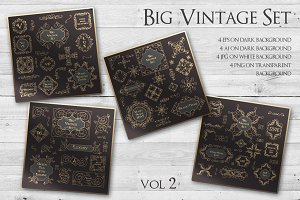 Vintage Borders and Frames Set. Vol2