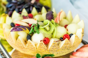 Fruit salad in melon