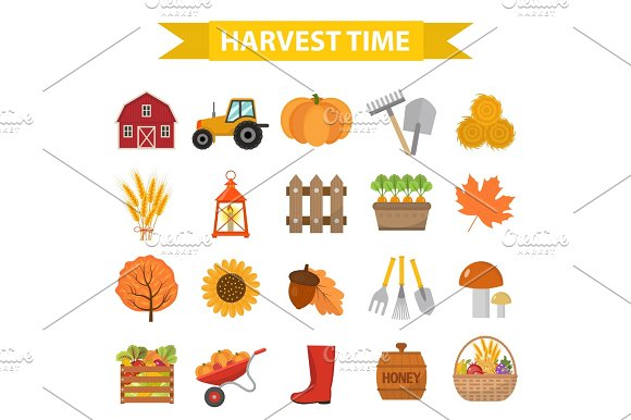 Autumn Harvest Time Icons Set Flat Cartoon Style Harvesting Collection Of Elements Design Farm Thanksgiving Day Concept Argoticulture Isolated On White Background Vector Illustration