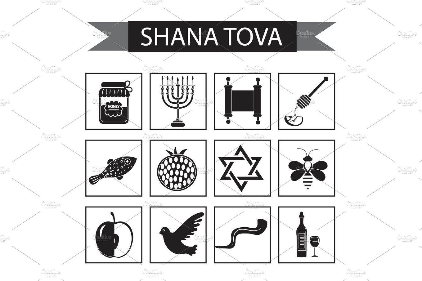 Set icons on the jewish new year black silhouette icon rosh set icons on the jewish new year black silhouette icon rosh hashanah shana tova cartoon icons flat style traditional symbols of jewish culture kristyandbryce Images