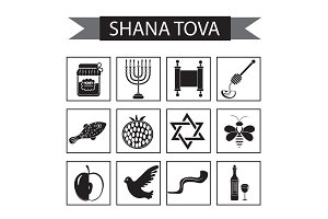 Set icons on the Jewish new year, black silhouette icon, Rosh Hashanah, Shana Tova. Cartoon icons flat style. Traditional symbols of Jewish culture. Vector illustration.