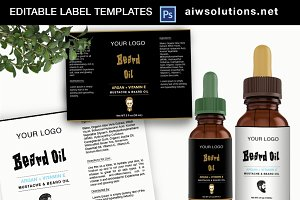 Beard oil label Template-id26