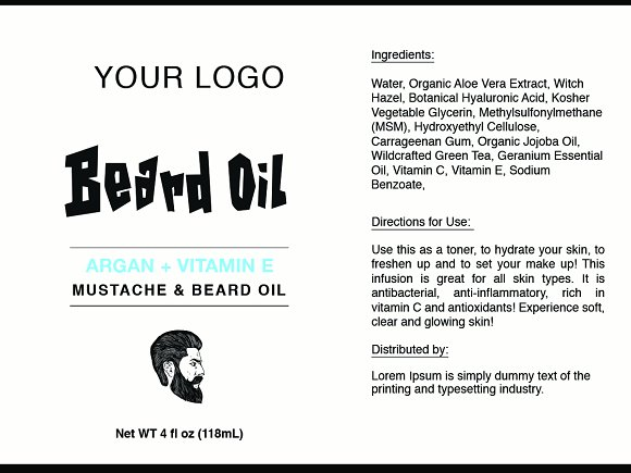beard oil label template id26 stationery templates creative market