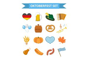 Oktoberfest icon set, flat or cartoon style. October fest in germany collection of traditional symbols, design elements with beer, food, cap. Isolated on white background. Vector illustration