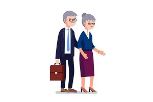 Senior age business man and woman couple