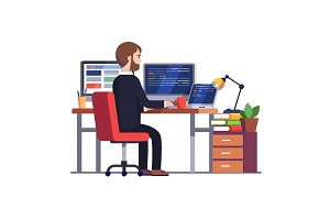 Professional programmer engineer writing code