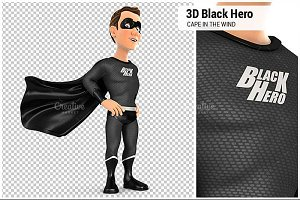 3D Black Hero Cape in the Wind
