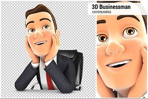 3D Businessman at Office Daydreaming