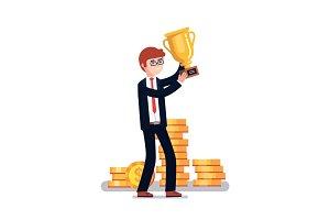 Celebrating businessman holding winner gold cup