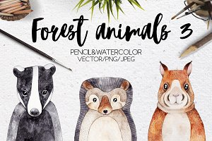 Forest animals VOL.3 Vector included