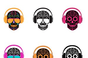 Skull icons with headphones
