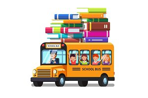 School bus with kids and lots of books luggage