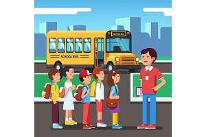 Pupils going to a city road trip