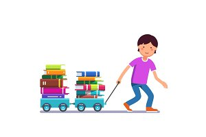 Boy kid pulling wagon cart with pile of book