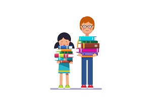 School and preschool kids holding piles of books