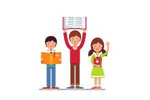 School and preschool kids holding books in hands
