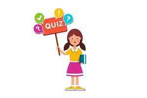 Girl standing with book, holding quiz placard