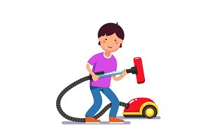 Boy kid holding electric vacuum cleaner pipe
