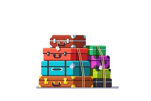 Big packed tightened baggage bags