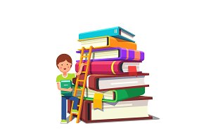 Boy climbing up ladder on a pile of books