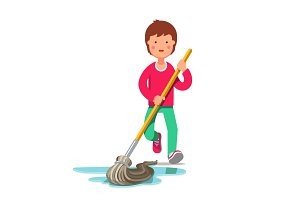 Kid cleaning floor with dust mop wet broom