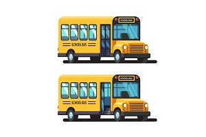 Yellow school bus with closed and opened doors