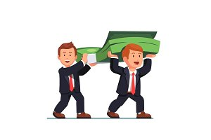 Two business man carrying huge money bundle