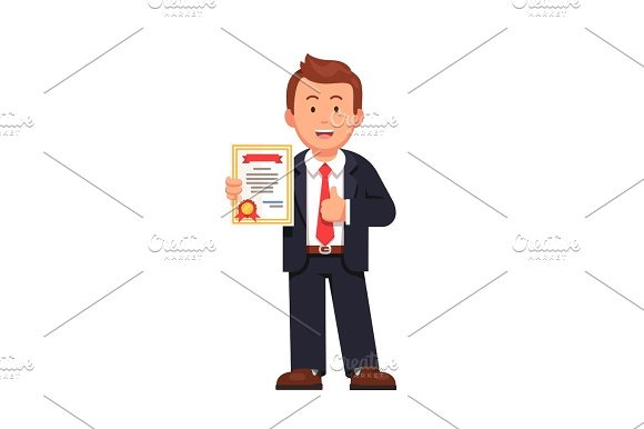Standing Business Man Holding Certificate