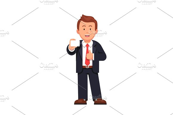 Standing Business Man Holding In Right Hand Card