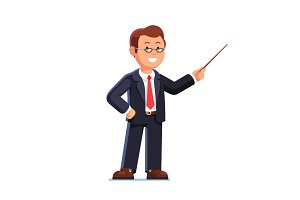 Business man teacher pointing with pointer stick