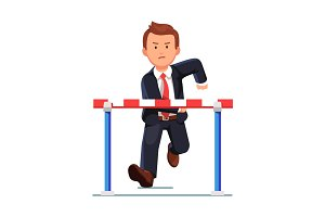 Angry business man running to a barrier obstacle